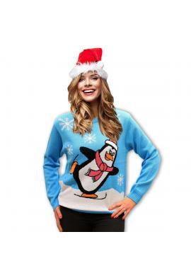 Vianočný dámsky sveter svetlomodrej farby s motívom tučniaka