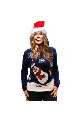 Dámsky vianočný sveter s motívom tučniaka v tmavomodrej farbe