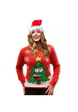 Červený vianočný sveter s motívom vianočného stromčeka pre dámy