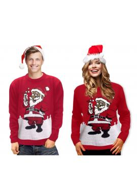 Vianočný dámsky sveter červenej farby s motívom Santa Clausa