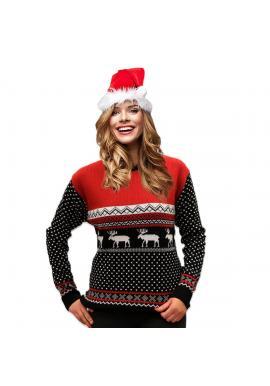 Čierno-červený vianočný sveter so zimným motívom pre dámy