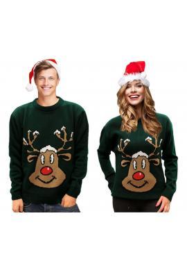 Vianočný dámsky sveter zelenej farby s motívom soba