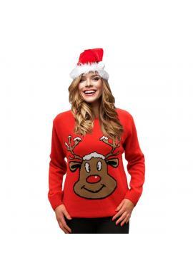 Dámsky vianočný sveter s motívom soba v červenej farbe