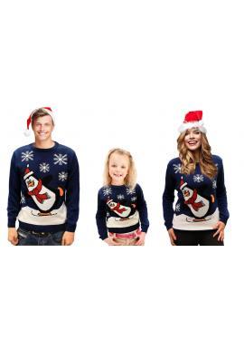 Detský vianočný sveter s motívom tučniaka v tmavomodrej farbe