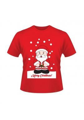 Červené vianočné tričko s motívom Santa Clausa