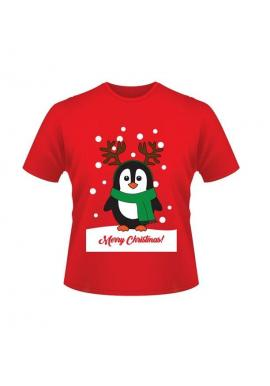 Vianočné tričko červenej farby s motívom tučniaka
