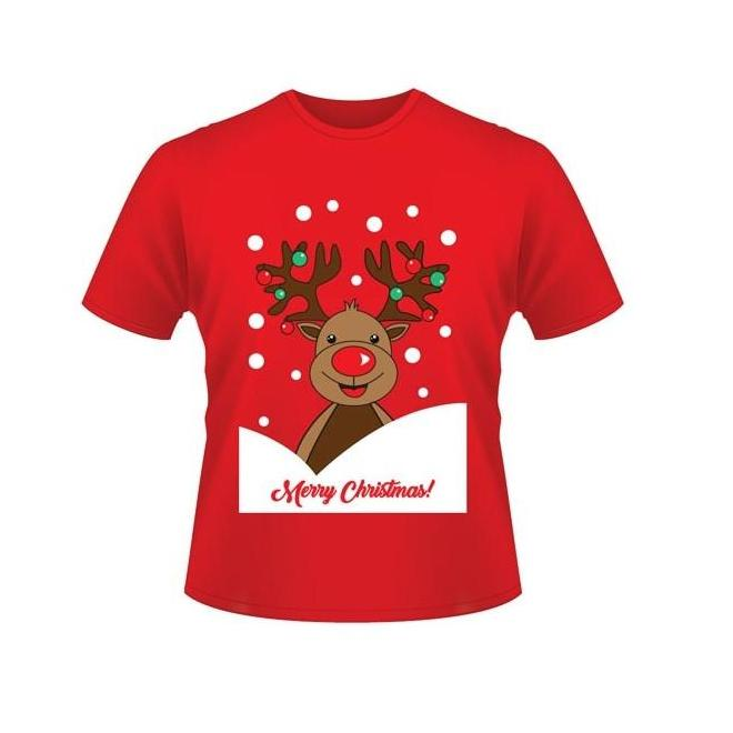 Červené vianočné tričko s motívom soba Rudolfa