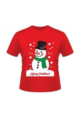 Vianočné tričko červenej farby s motívom snehuliaka