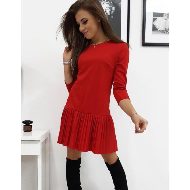 Červené vzdušné šaty s plisovanou sukňou pre dámy
