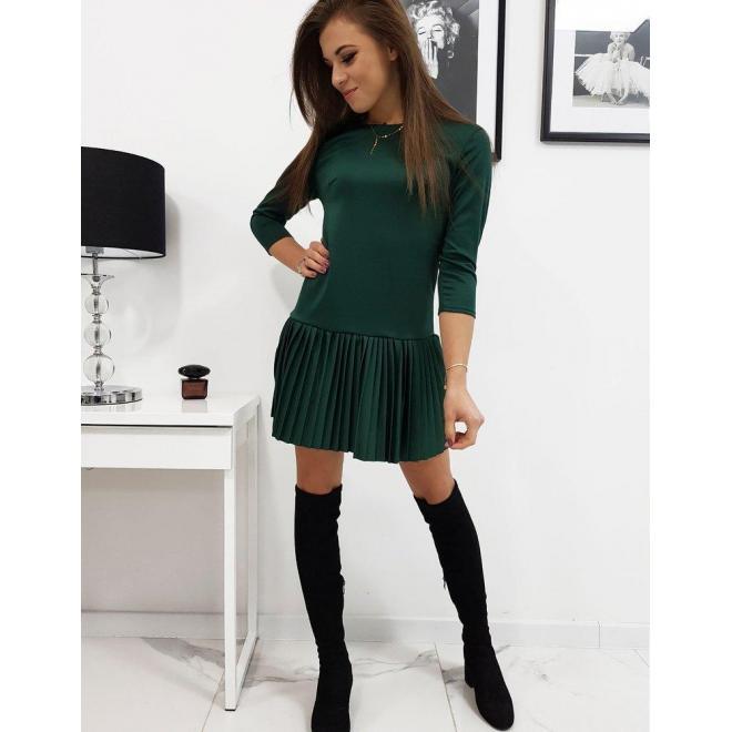 Dámske vzdušné šaty s plisovanou sukňou v zelenej farbe