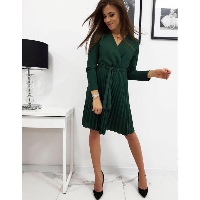Zelené plisované šaty s viazaním v páse pre dámy
