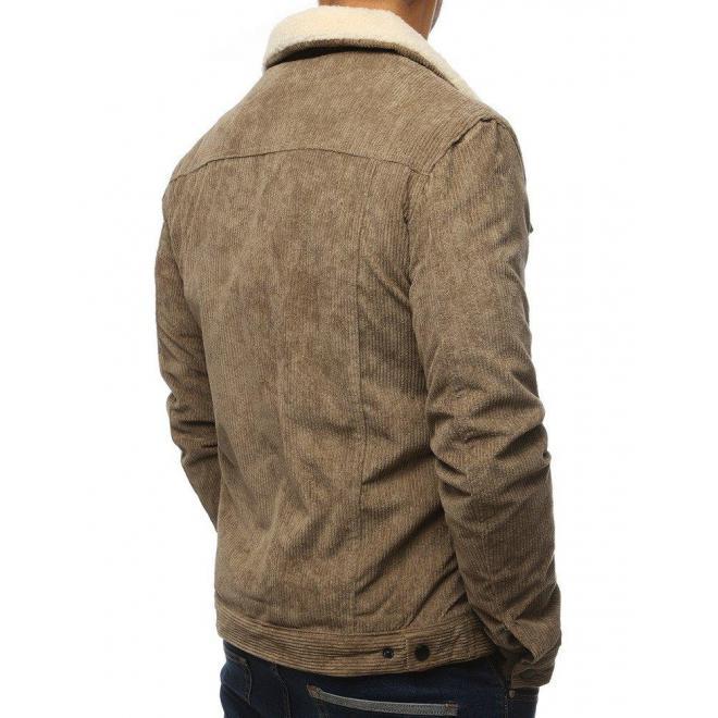 Pánska menčestrová bunda s kožušinou v kaki farbe