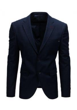 Pánske jednoradové sako s dvoma gombíkmi v tmavomodrej farbe