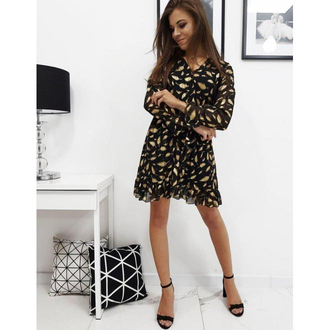 Ľahké dámske šaty čiernej farby so vzorom