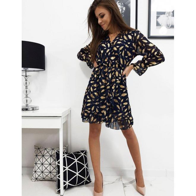 Tmavomodré ľahké šaty so vzorom pre dámy