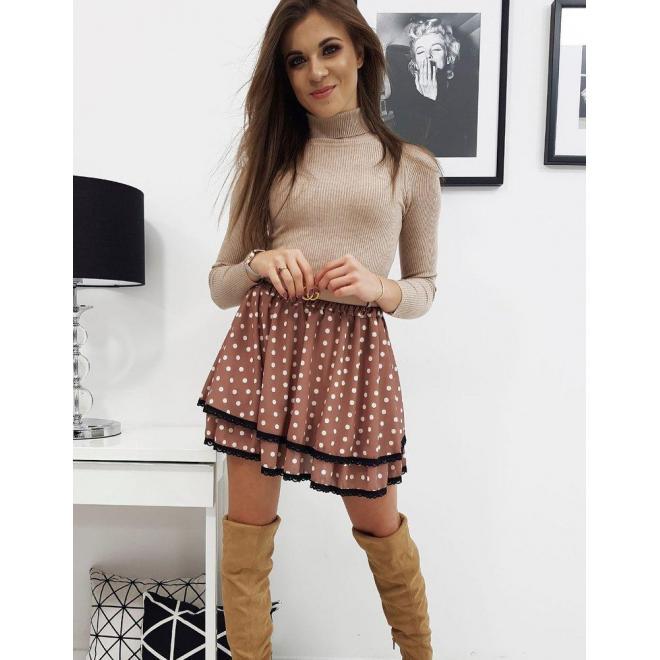 Dámska dvojvrstvová sukňa s bodkami v hnedej farbe