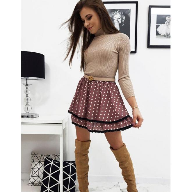 Ružová dvojvrstvová sukňa s bodkami pre dámy