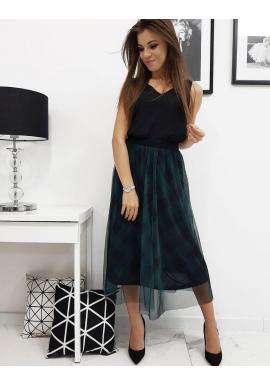 Dámska tylová sukňa s kockovaným vzorom v zelenej farbe