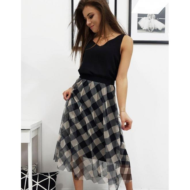 Béžovo-čierna tylová sukňa s kockovaným vzorom pre dámy
