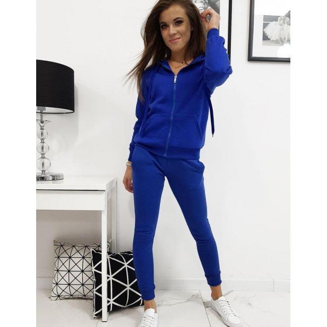 Tepláková dámska súprava modrej farby s kapucňou
