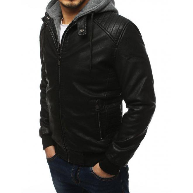 Pánska koženková bunda s teplákovou kapucňou v čiernej farbe