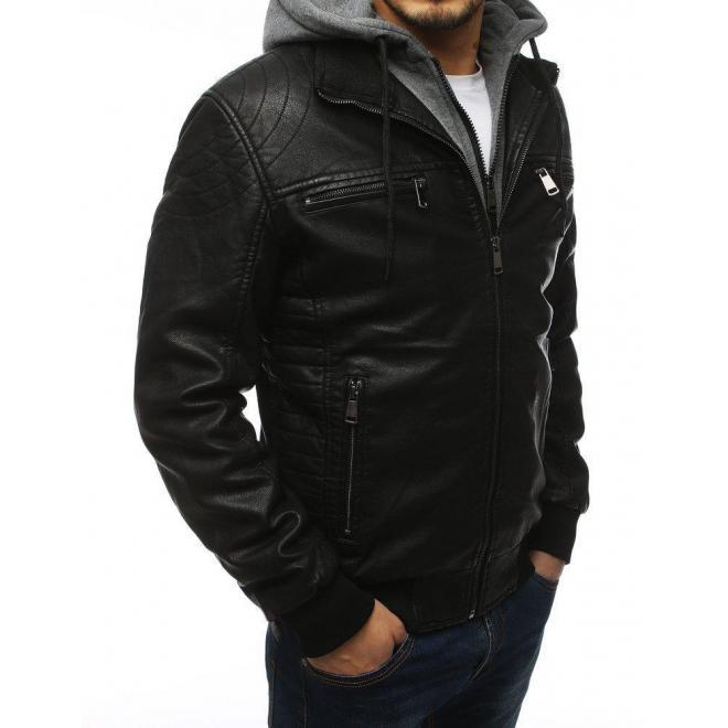 Čierna koženková bunda s teplákovou kapucňou pre pánov