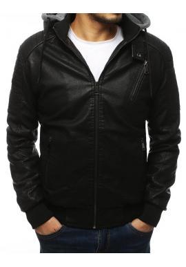 Koženková pánska bunda čiernej farby s teplákovou kapucňou