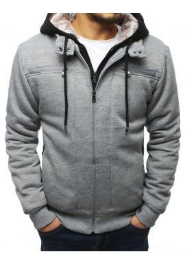 Sivá prechodná bunda s kapucňou pre pánov