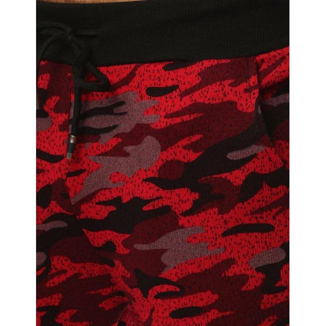 Maskáčové pánske tepláky červenej farby