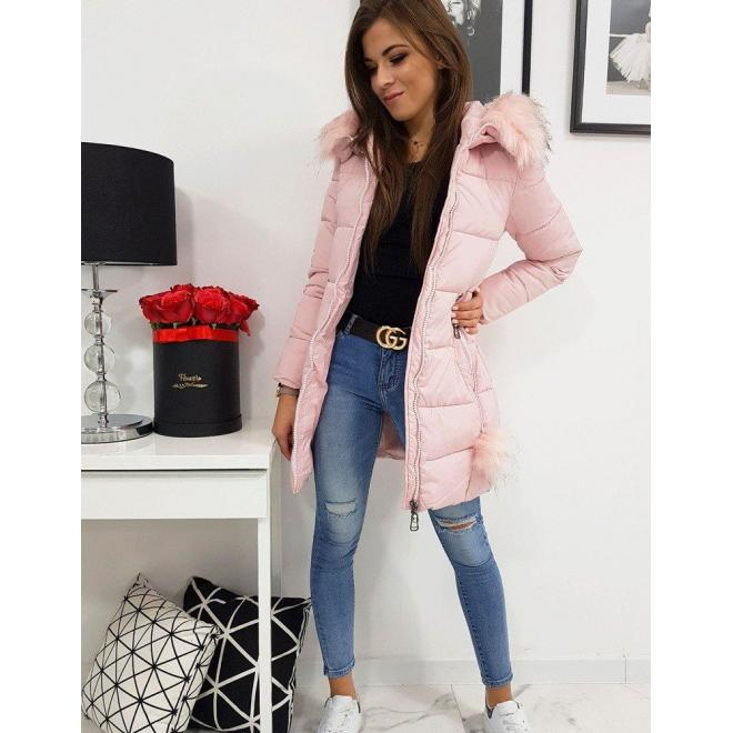 Ružová prešívaná bunda na zimu pre dámy