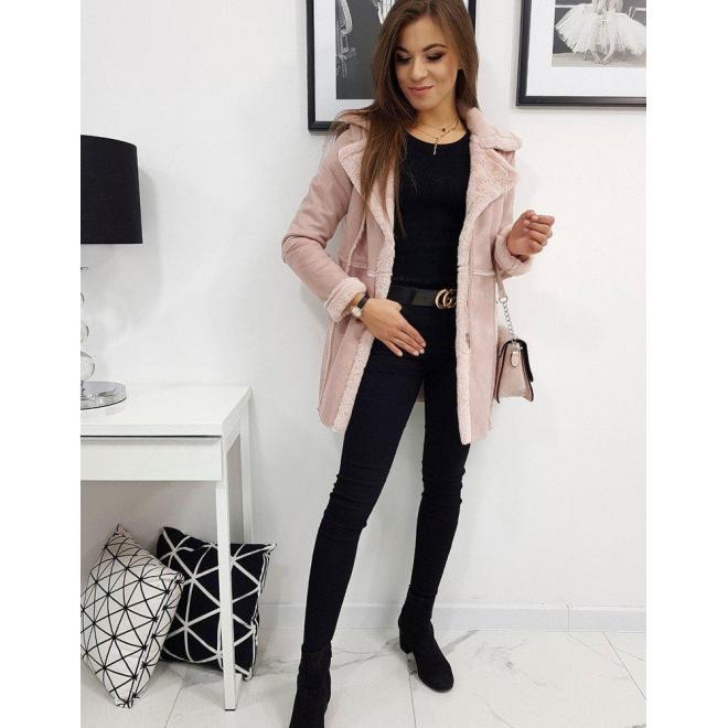 Dámsky zimný kabát v ružovej farbe