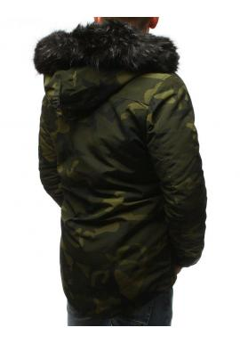 Maskáčová pánska bunda zelenej farby na zimu