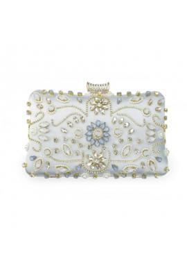 Spoločenská dámska kabelka svetlomodrej farby s kryštálmi