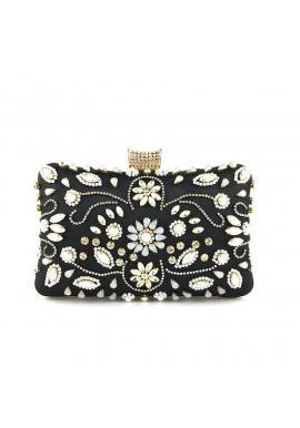 Dámska spoločenská kabelka s kryštálmi v čiernej farbe