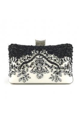 Čierno-biela večerná kabelka s kryštálmi pre dámy