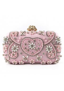 Spoločenská dámska kabelka ružovej farby s kryštálmi
