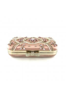 Dámska spoločenská kabelka s kryštálmi a perlami v ružovej farbe