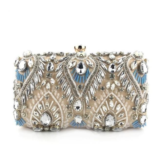 Béžová večerná kabelka s kryštálmi pre dámy