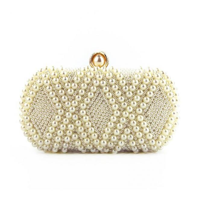 Dámska spoločenská kabelka s perlami v bielej farbe