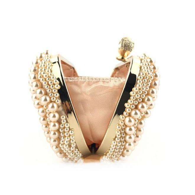 Ružová spoločenská kabelka s perlami pre dámy