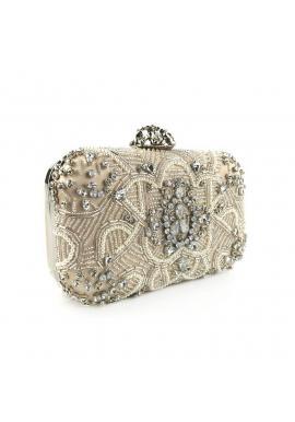 Večerná dámska kabelka béžovej farby s kryštálmi a perlami