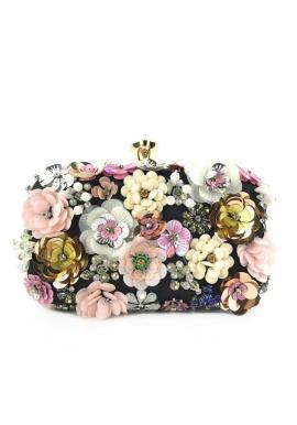 Dámska spoločenská kabelka s kvetmi v čiernej farbe
