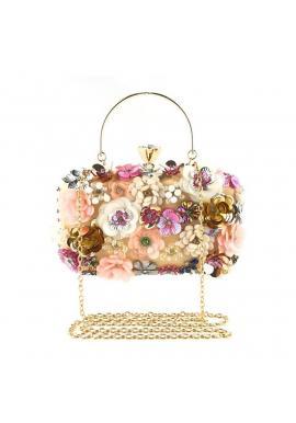 Biela spoločenská kabelka s kvetmi pre dámy