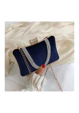 Tmavomodrá spoločenská kabelka pre dámy
