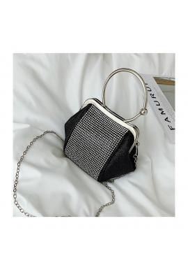 Dámska večerná kabelka s kryštálmi v čiernej farbe
