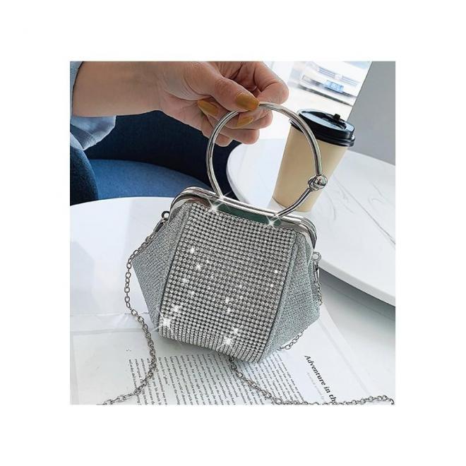 Sivá večerná kabelka s kryštálmi pre dámy