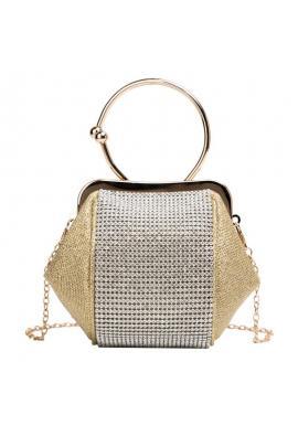 Večerná dámska kabelka zlatej farby s kryštálmi