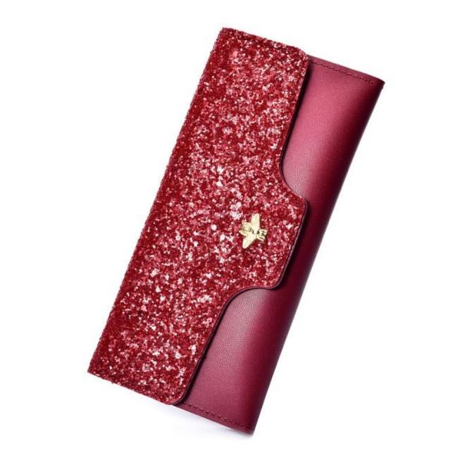 Dámska módna peňaženka s brokátom v červenej farbe