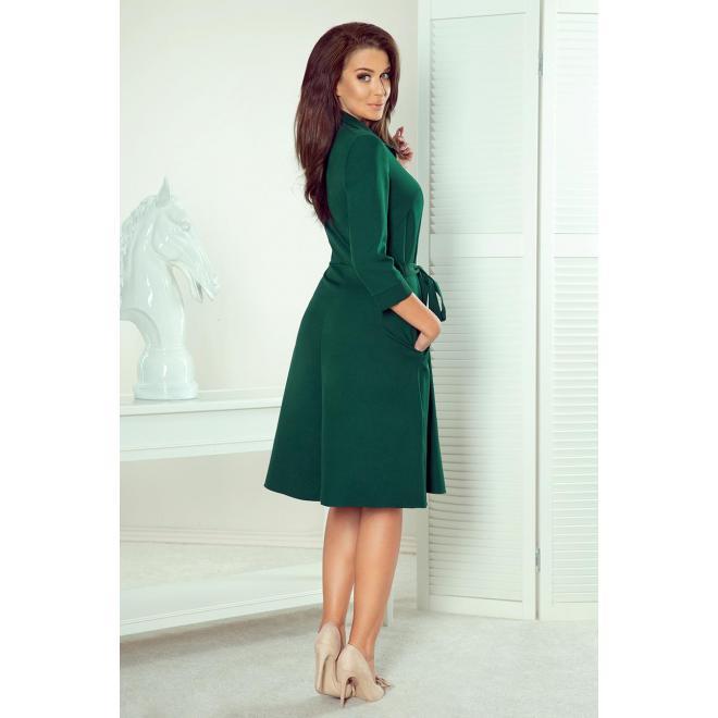Košeľové dámske šaty zelenej farby s viazaním v páse