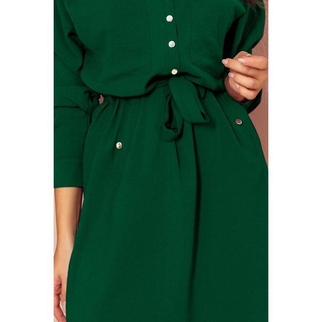 Dámske košeľové šaty s viazaním v páse v zelenej farbe